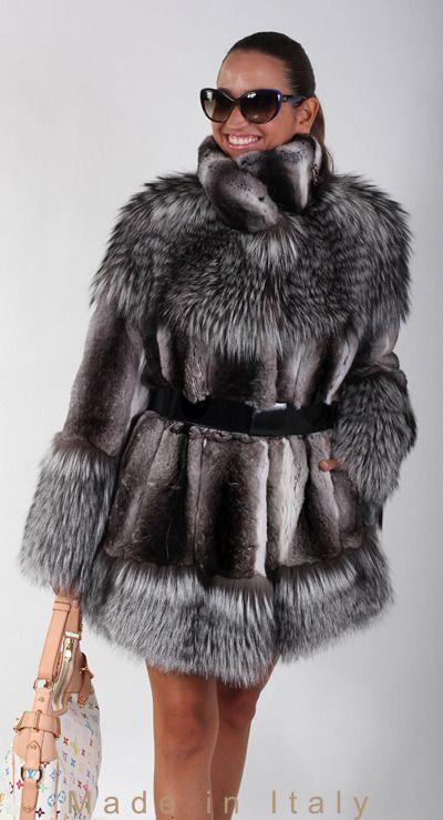 brand new chinchilla fur winter coat jacket with silver fox trim, size S M L XL - Coats  Jackets
