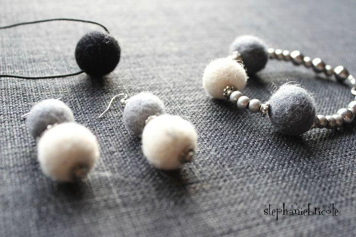 Boucles d'oreilles en laine feutrée - Stéphanie bricole