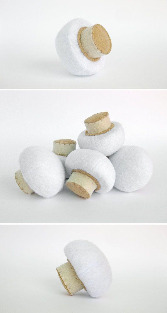 Felt Food Mushroom Realistic Toy Pretend Play Food for Kids Mushroom Kitchen Play Food Fabric Vegetables