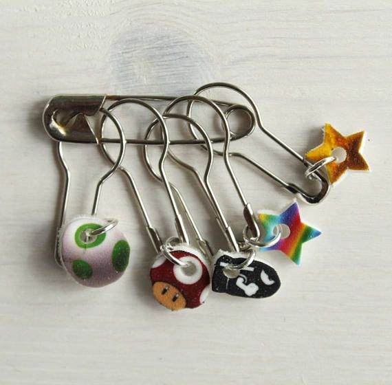 Mario themed stitch markers for knitting and crochet projects