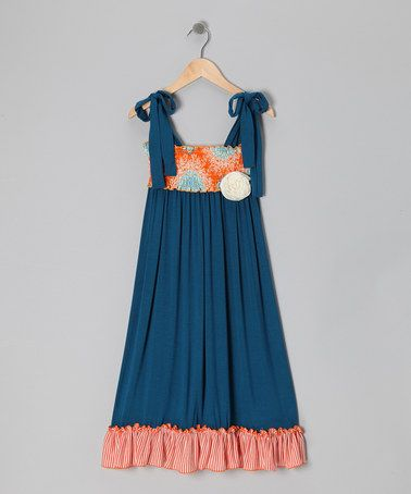 SO cute. Just might have to get this for her. Navy & Orange Medallions Maxi Dress - Girls by Million Polkadots on #zulily today!
