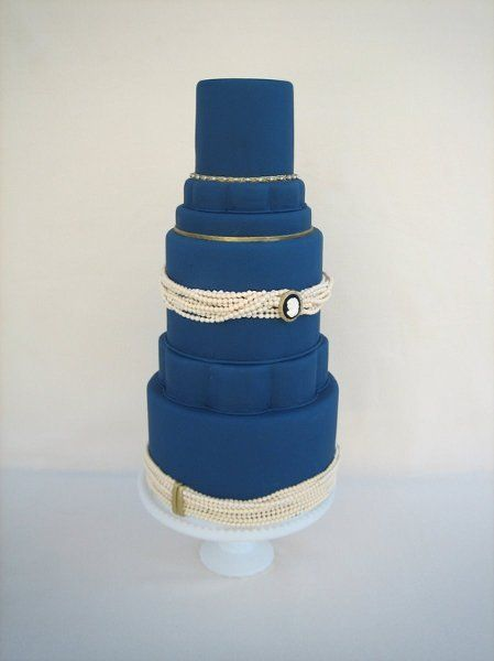 23 Blue Wedding Cake Ideas: Vintage-inspired navy blue fondant-frosted wedding cake with antique pearl details {Catherine Joanne Cakes}