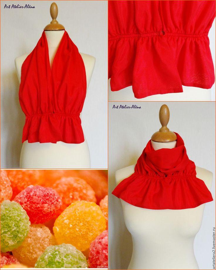 Купить Шейный шарфик. Жетель. Красный - ярко-красный, однотонный, аксессуар, офис, украшение, галстук