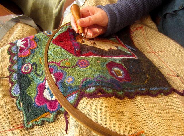 Hooked rug in progress, via Flickr.