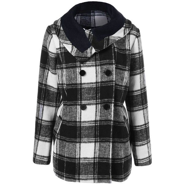 Plus Size Plaid Pea Coat ($29) ❤ liked on Polyvore featuring outerwear, coats, plus size peacoat, plus size pea coat, pea coat, women's plus size coats and peacoat coat