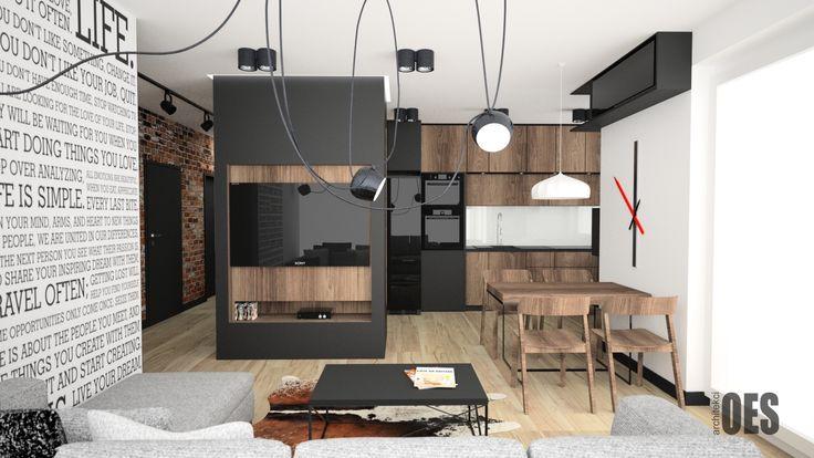 #blackandwhiteinterior czarna zabudowa tv, drewno w kuchni, lampa wisząca, nadruki na ścianie, zegar ścienny