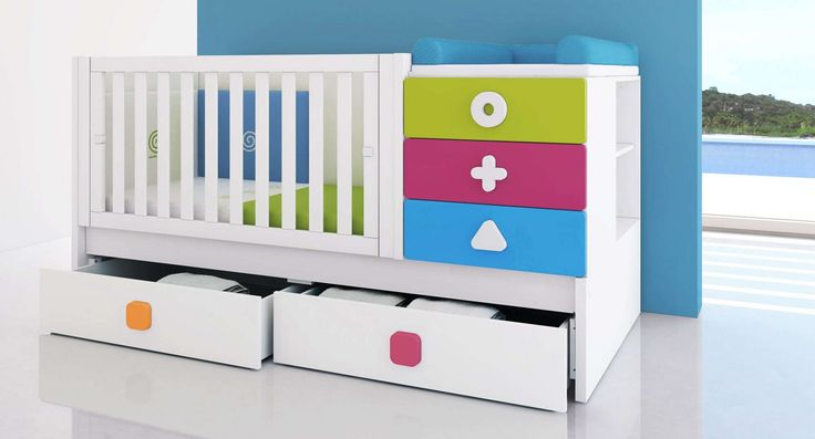 Cunas convertibles multicolor, modernas y originales para las habitaciones de bebés más bonitas. Descubre la colección MATHS de Alondra