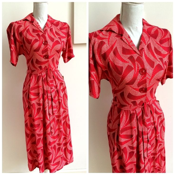 40s WWII - Fabulous Atomic Rayon Belted Dress - W27 (68cm), €130