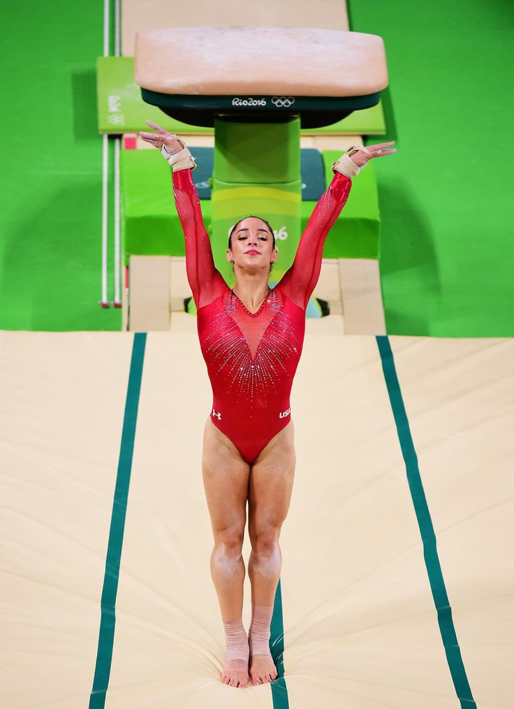 Alexandra Raisman of the United States reacts after competing on the vault during the Women's Individual All Around Final on Day 6 of the 2016 Rio Olympics at Rio Olympic Arena on August 11, 2016 in Rio de Janeiro, Brazil.