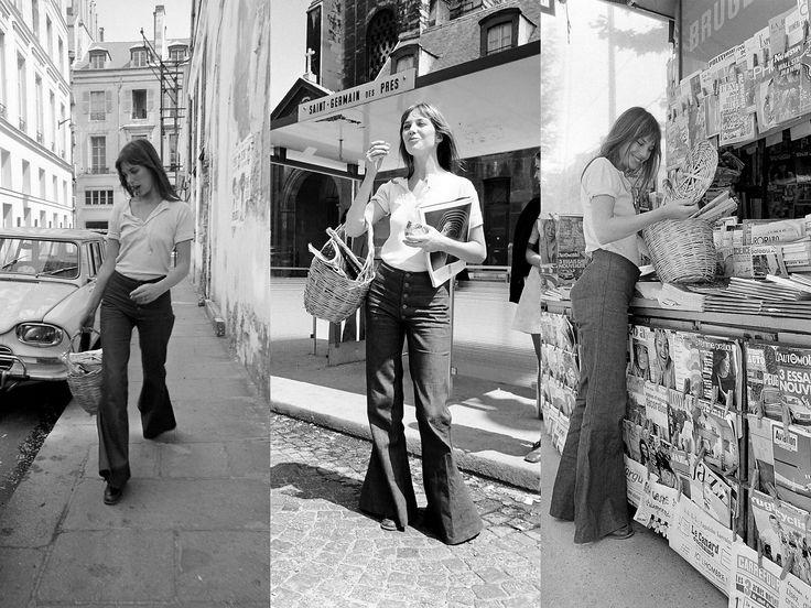EL MUST HAVE │PANTALÓN BOTA ANCHA | The Glambition  Si hay una ícono del estilo bohemio por excelencia, esa es Jane Birkin. Su look desenfadado y sin esfuerzo, la convirtió en musa de diseñadores. Birkin luciendo sus bota campana en 1970.