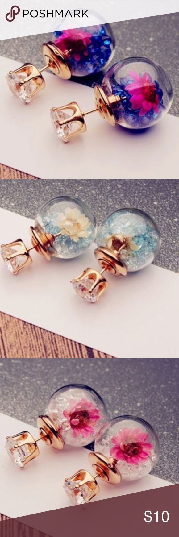 FUN flower double sided earrings Classic in the front, fun in the back! Adorable, beautiful and FUN flower and crystal filled glass ball earrings! Gold toned with crystal for the front of the ear lobe, and glass ball with loose crystal and dried flower in the back! Jewelry Earrings