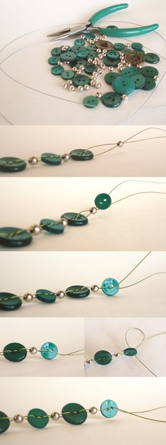Knopen ketting met tutorial! Leuk voor op een grijze zondag. Nice button necklace with tutorial. Great for grey & lazy Sundays :)