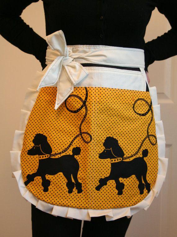 Yellow polka dot poodle print Retro Apron by ThatsSewRetro on Etsy