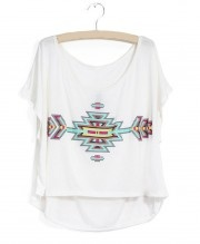 Boxy T-Shirt with Batwing Sleeves