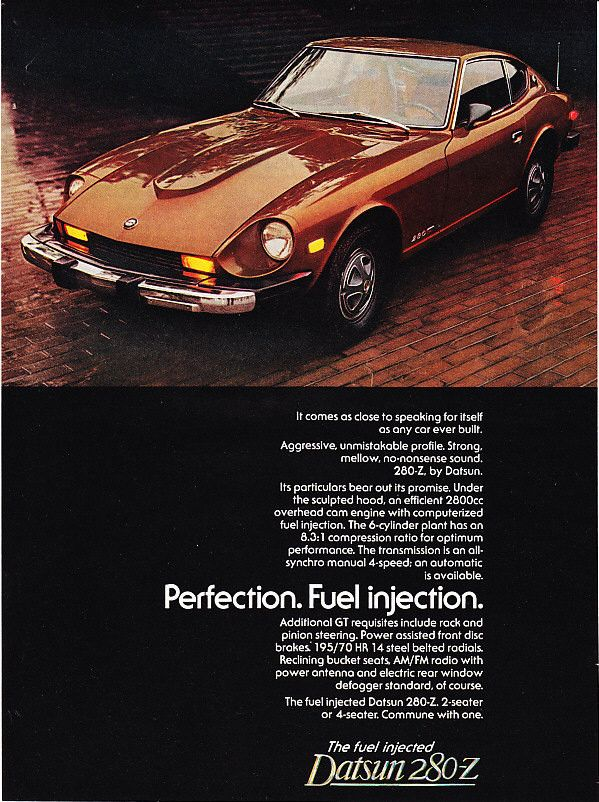 """A full size color advertisement for the 1976 Datsun 280-Z . Detailing the benefits of fuel injection. Performance and luxury. """"Perfection. Fuel Injection."""" -A vintage 1976 Datsun 280-Z car advertiseme"""