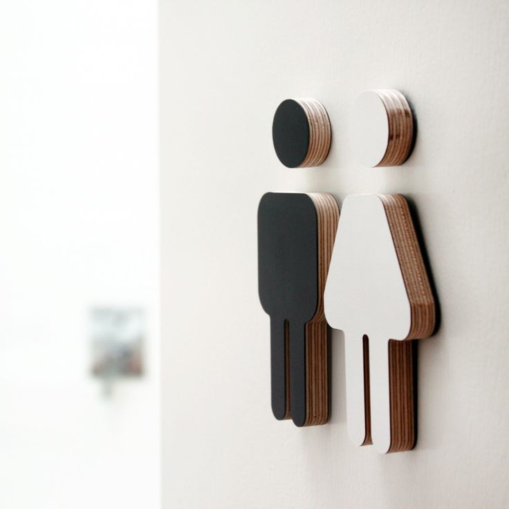 Small male/female laminated black & white plywood sign
