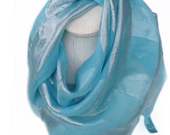 Check out Christmas Gift for Mother from Daughter, Light Blue Silk Shawl, Christmas Gift for Girlfriend, Gift for coworker, Sparkly Blue Head scarf on blingscarves