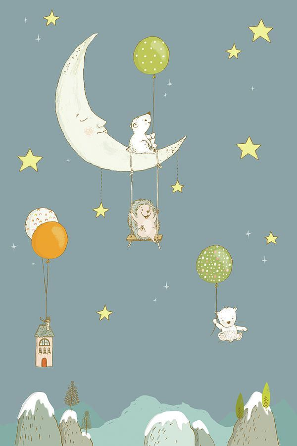 Cute And Funny Kid S Room Decor Art Prints For Sale Animals In The Night Sky Two Bears And A Hedgehog Having F Night Sky Painting Whimsical Art Sky Painting