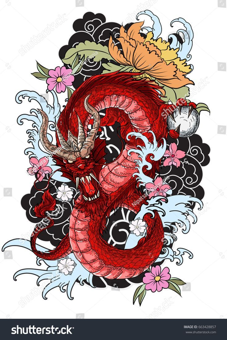 Hand Drawn Dragon Tattoo Coloring Book Japanese Style Japanese Old Dragon For Tattoo Traditi Japanese Tattoo Art Dragon Tattoo Colour Japanese Dragon Tattoos