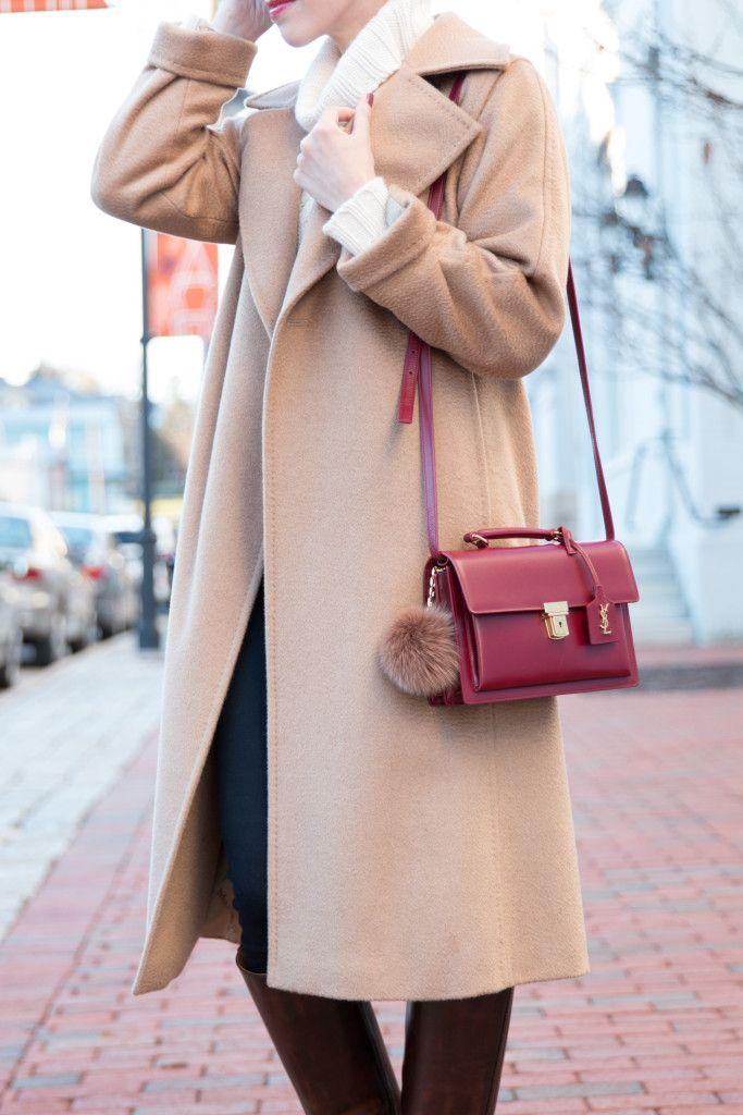 Saint Laurent red High School satchel, Max Mara Manuela camelhair coat, camel coat with cream turtleneck sweater, how to wear a camel coat
