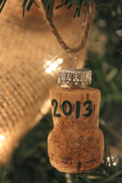 champagne cork ornament, the cork is from the champagne bottle you toasted off with on your wedding day
