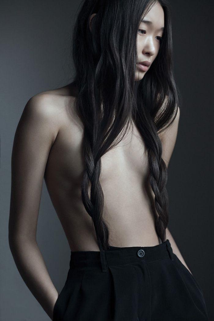 long hair - braids - asian - simple