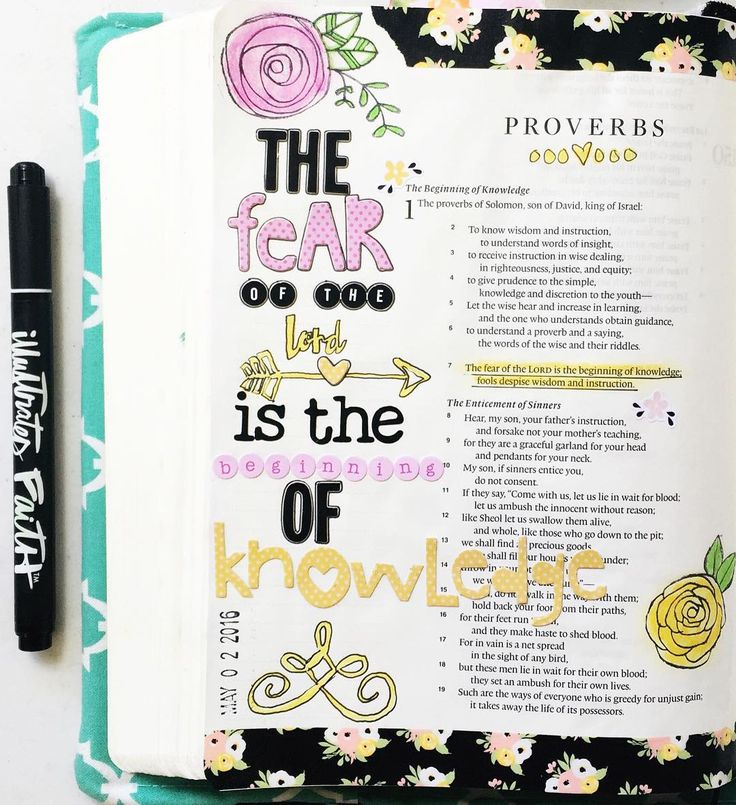 """The fear of the Lord is the beginning of knowledge fools despise wisdom and instruction."" (Proverbs 1:7)  Day 1 of @shereadstruth #ProverbsDevotional  Mixing up some elements from April's @theplannersociety kit and @illustratedfaith goodies  . . . #illustratedfaith #tpskit #theplannersociety #washi #proverbs #srtproverbs #biblejournaling #journalingbible #biblejournalingcommunity #faithart #ArtForJesus by krystal_marie_b"