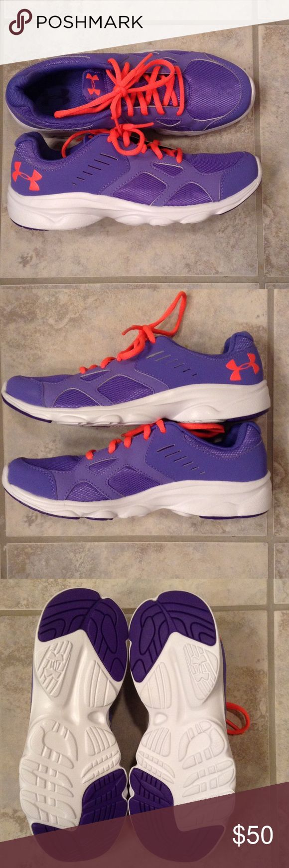 Brand new! 6.5Y Under Armour Purple Tennis Shoes Brand new purple and neon orange Under Armour shoes. Never worn, only tried on, but do not have any actual tags. In perfect condition! These are 6.5Y which is a size 8 in women's. Under Armour Shoes