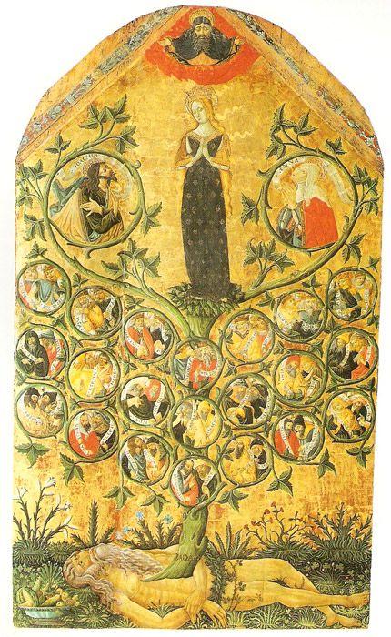 Matteo da Gualdo. Albero genealogico della stirpe di David, 1497. Gualdo Tadino, Pinacoteca del Museo Civico Rocca Flea