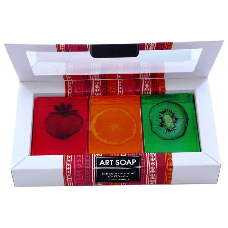 Caja 3 jabones de frutas. Art Soap.
