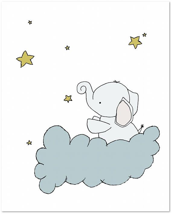Elephant Nursery Art Print — Baby Elephant Star Cloud — Nursery Decor — Elephant Art Print — Children Art Print — Kids Wall Art