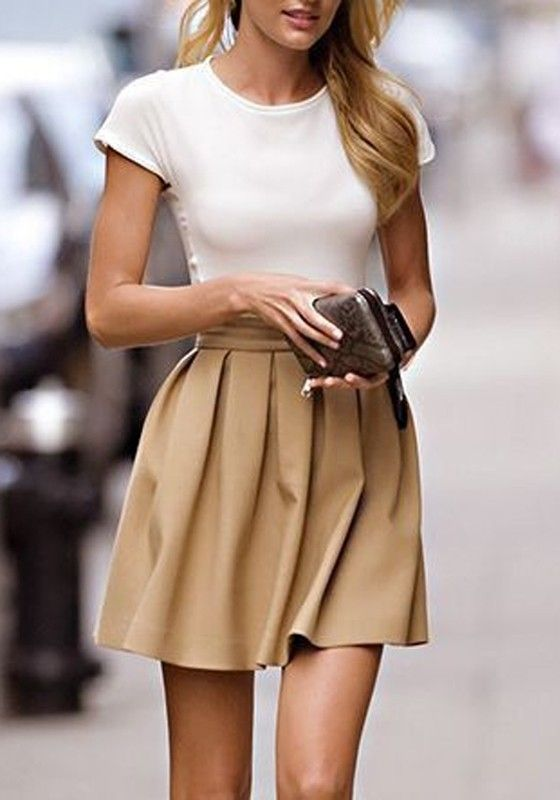 Khaki Plain Pleated High Waist Elegant Short Fashion Lovely Girl Mini Skirt