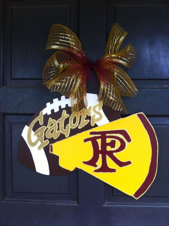 Only blue and gold - HUSKERS  Football Cheerleader Wreath, Football Cheerleader Door Hanger, School Spirit Personalized