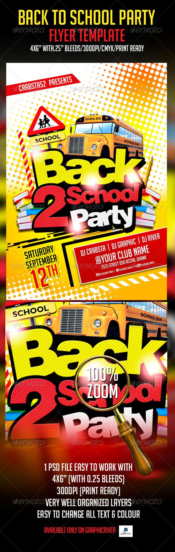 Back To School Party Flyer Template Back to, Fonts and