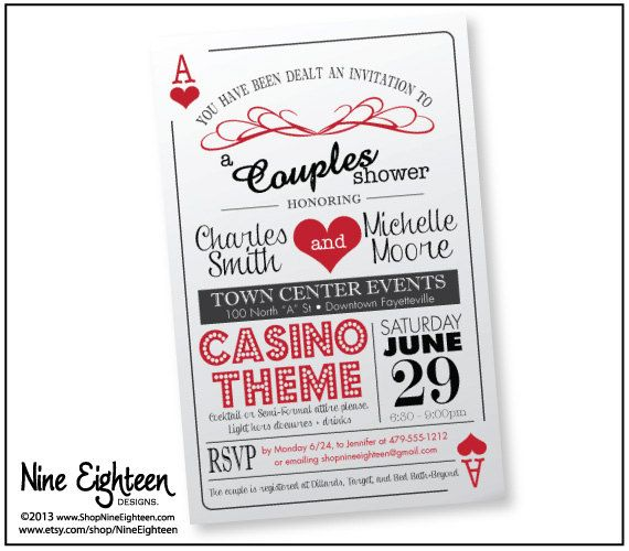 Casino or vegas themed Couple's Shower Invitation por ...
