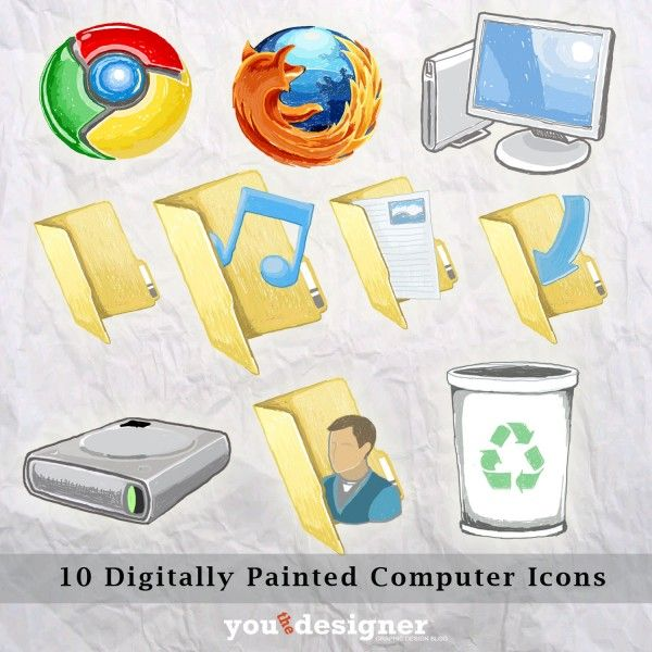 10 Digitally Painted Computer Icons