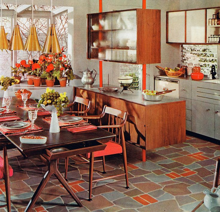 gray and orange kitchen (Armstrong flooring ad, 1962)