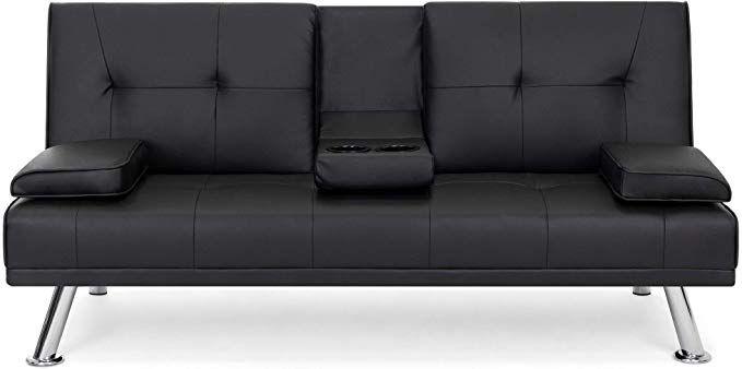 Amazon Com Best Choice Products Modern Faux Leather Futon Sofa