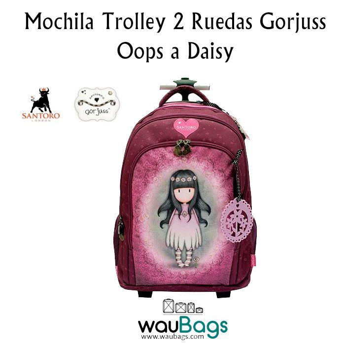 """La Mochila Trolley 2 Ruedas Gorjuss """"Oops a Daisy"""" puede llevarse en la espalda como una mochila gracias a sus dos asas acolchadas y tambien la puedes usar como un carro gracias a su trolley extensible que permite llevarla cómodamente!  @waubags.com #gorjuss #santorolondon #mochila #trolley #escolar  #vueltaalcole #mochilaruedas #waubags"""
