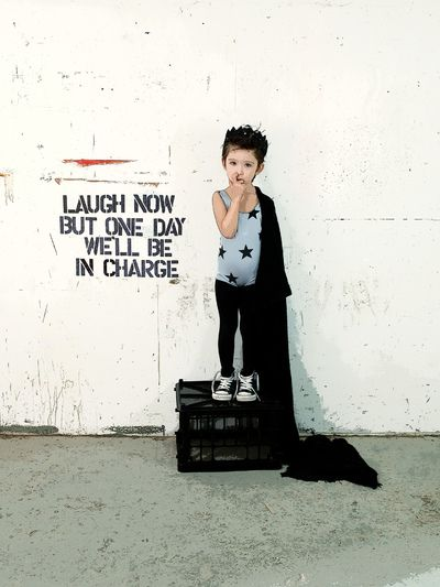Katrina Tang Photography for Babesta Boutique NY SS 14. Boy standing on a box, white brick wall, pranksy #katrinatang #tangkatrina