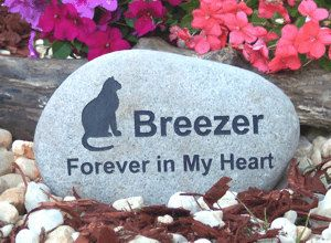 Enraved Colorado Pet Memorial River Rock  Graphic (Cat #1) Font (Helvetica) Pictured All Pet Breeds Available 6 - 8 Inches Includes Shipping