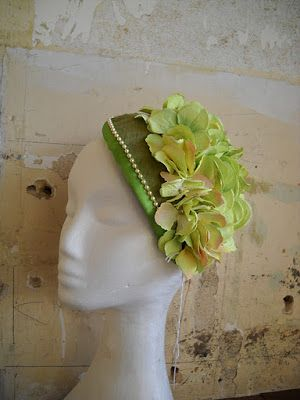 Green with Envy, made of re-purposed silk & faux hydrangeas.