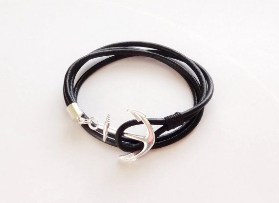 FREE SHIPPING/Anchor bracelet men/Leather wrap bracelet/Nautical Fish Hook Bracelet/Wrap bracelet/Anker Armband/Maritime wrap bracelet