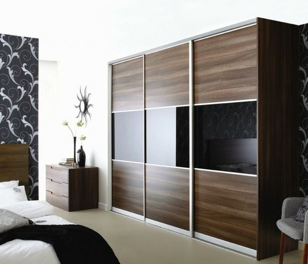 elegant wardrobe design brown black mirror surfaces