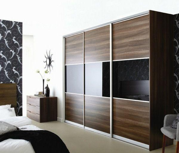 Modern Sliding Doors For Closet: Elegant Wardrobe Design Brown Black Mirror Surfaces