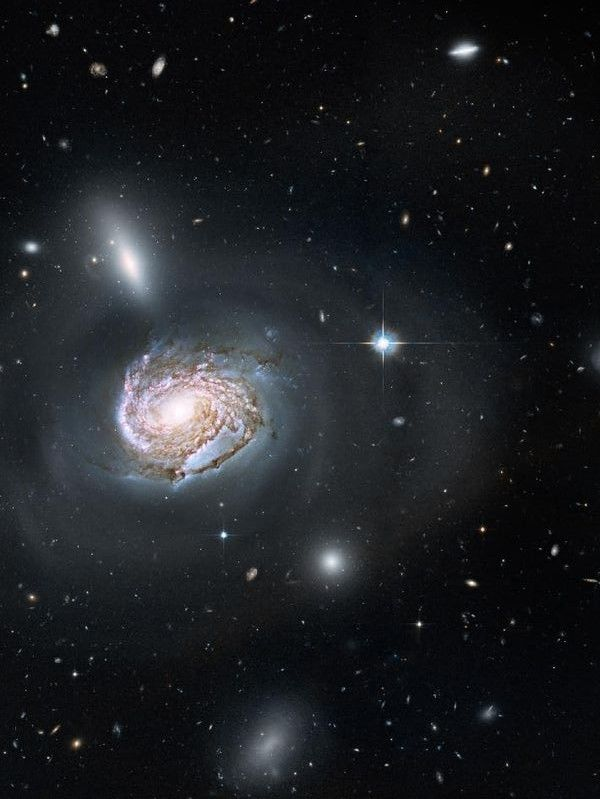 Close-up on a majestic face-on spiral galaxy located deep within the Coma Cluster of galaxies. Image via NASA