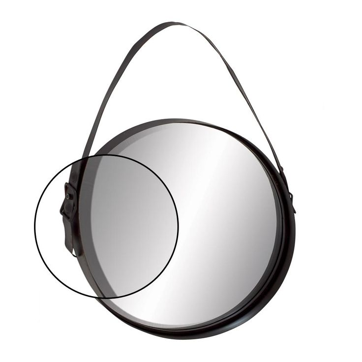 AMERICAN HOME 35 in. x 24 in. Iron Round-Shaped Black Wall Mirror with Hanging Strap-20291 - The Home Depot