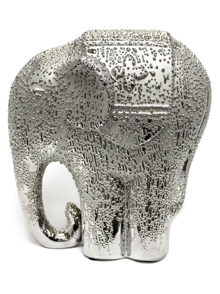 Sagebrook Home Jasmine Patterned Elephant Figure