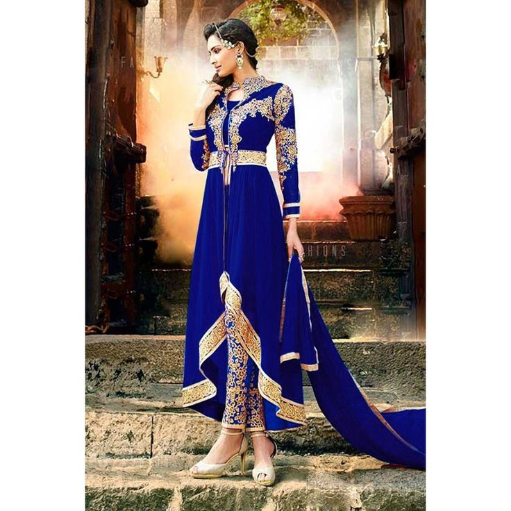 Buy anarkali georgette plus size suits, Royal Blue resham embroidered Royal Blue punjabi collection now in shop. Andaaz Fashion brings latest designer ethnic wear collection in US