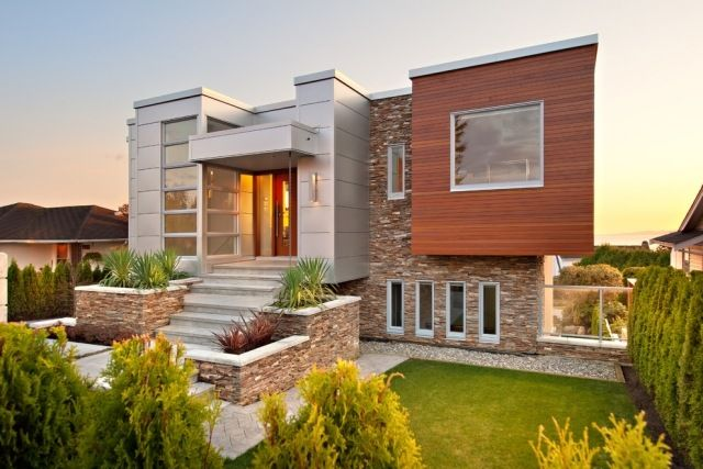 Fassadengestaltung modern stein  Fassadengestaltung aus Holz Stein Metall zusammen-Verschönerung ...